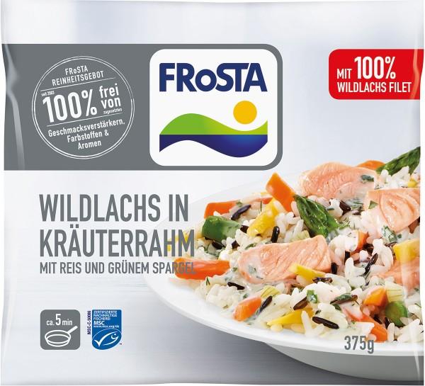 Wildlachs in Kräuterrahm mit Reis und grünem Spargel (375g)