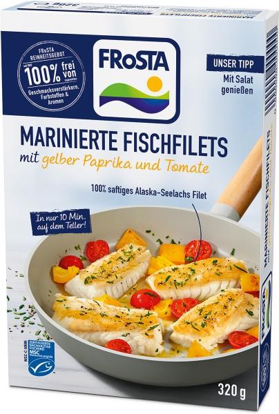 Marinierte Fischfilets mit gelber Paprika und Tomate - Packshot