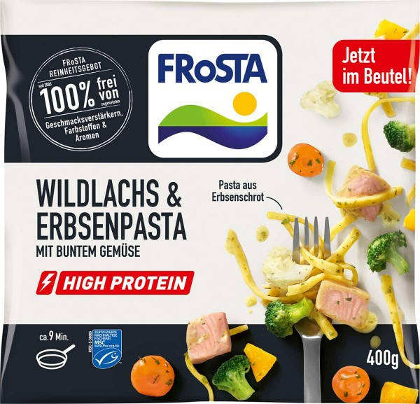 FRoSTA Wildlachs & Erbsenpasta mit buntem Gemüse 400g
