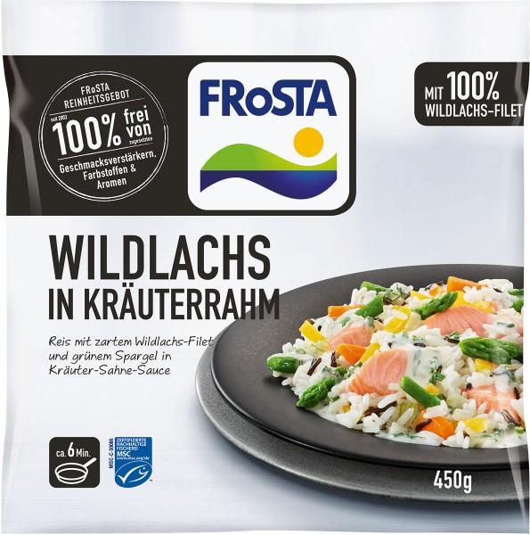 Wildlachs in Kräuterrahm mit Reis und grünem Spargel (450 g)